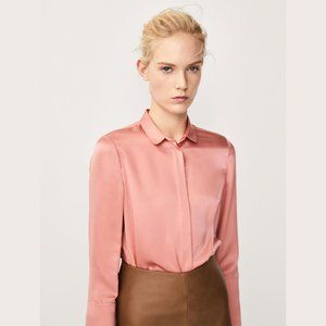 MASSIMO DUTTI Silk Blouse with Scalloped Details